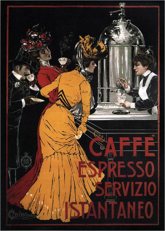 Cafe Mixed Media - Caffe Espresso Servizio Istantaneo - Vintage Advertising Poster by Studio Grafiikka