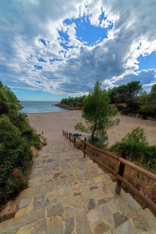 Color Photograph - Calafat Beach In Tarragona by Vicen Photography