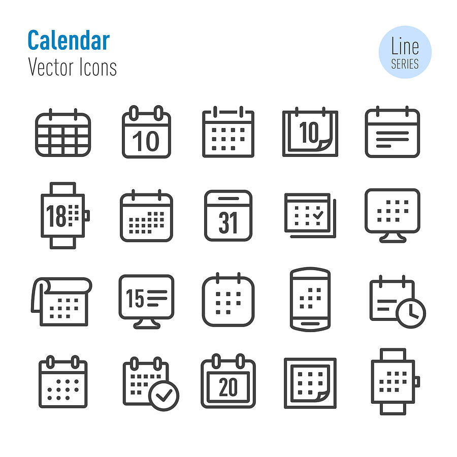 Calendar Icons - Vector Line Series Drawing by -victor-