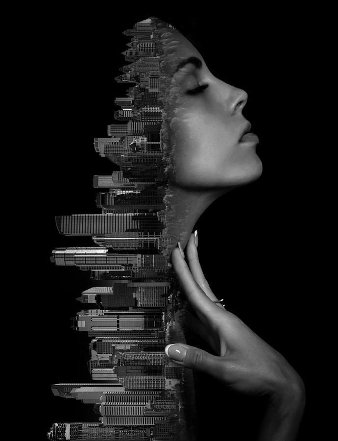 Calgary Alberta Canada Skyline And Woman Double Exposure Photography Surreal Digital Art