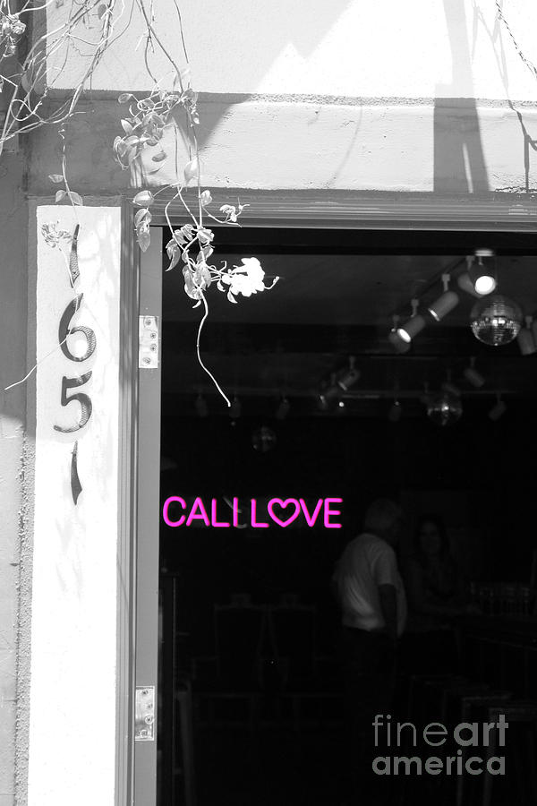 Cali Love Photograph - Cali Love Neon Sign in Darkened Bar Hot Pink Selective Coloring by Colleen Cornelius
