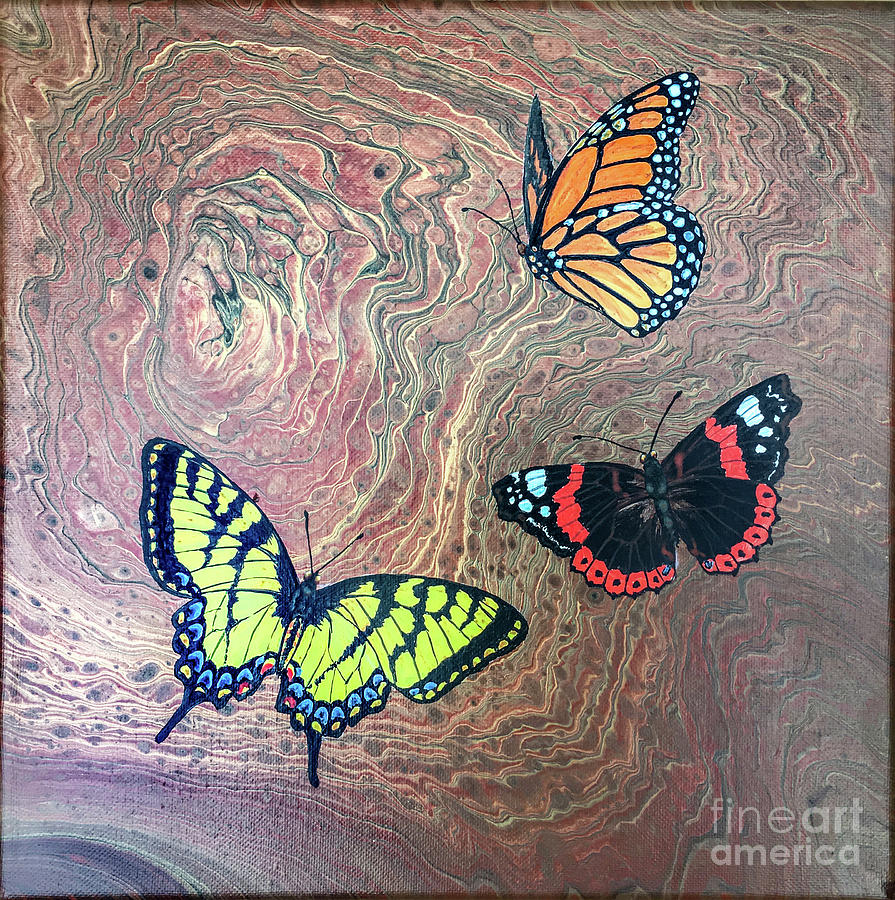 Butterflies Painting - California Butterflies by Lucy Arnold