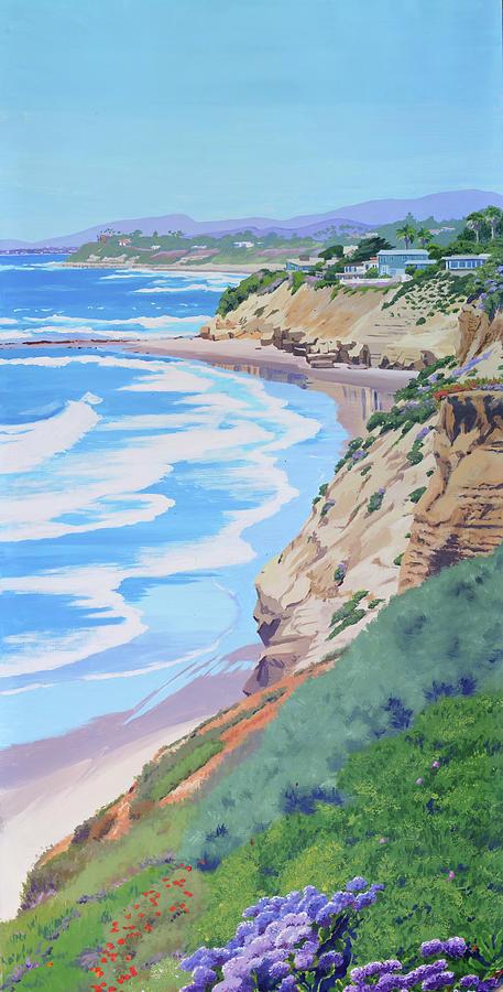 California Painting - California Coastline by Mary Helmreich