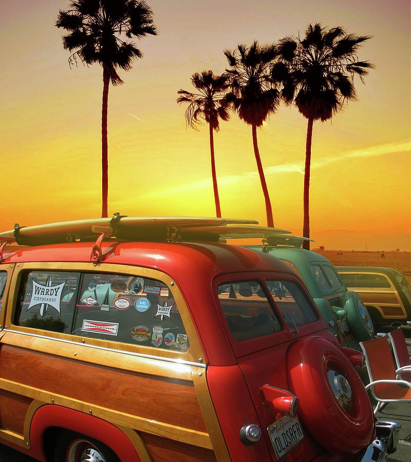 California Woodywagons, Palmtrees And Sunset Photograph
