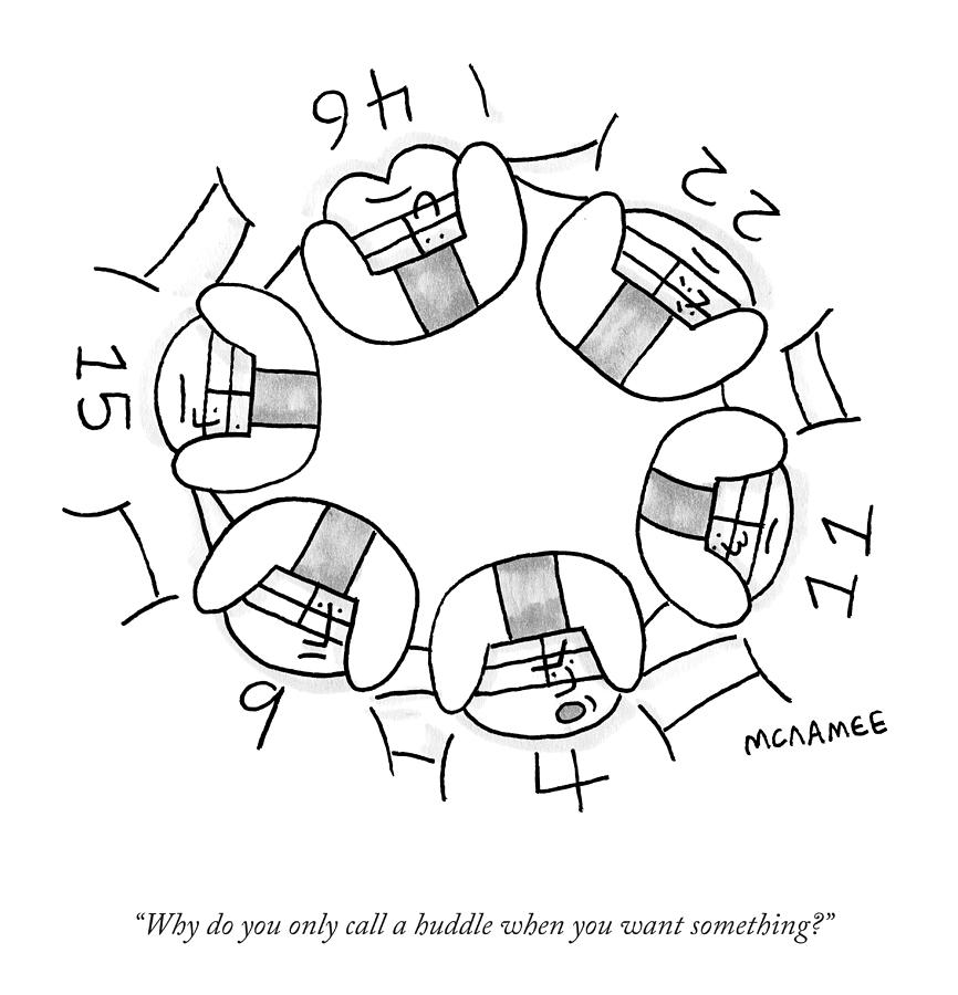 Call A Huddle Drawing by John McNamee