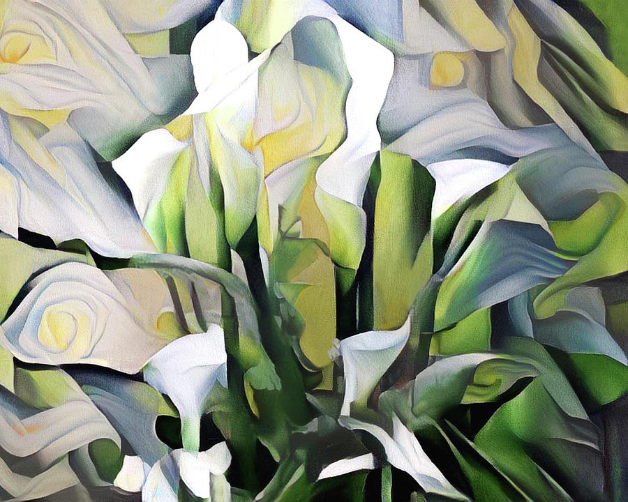 Calla Lilies Digital Art - Calla Lilies Abstract by Peggy Collins