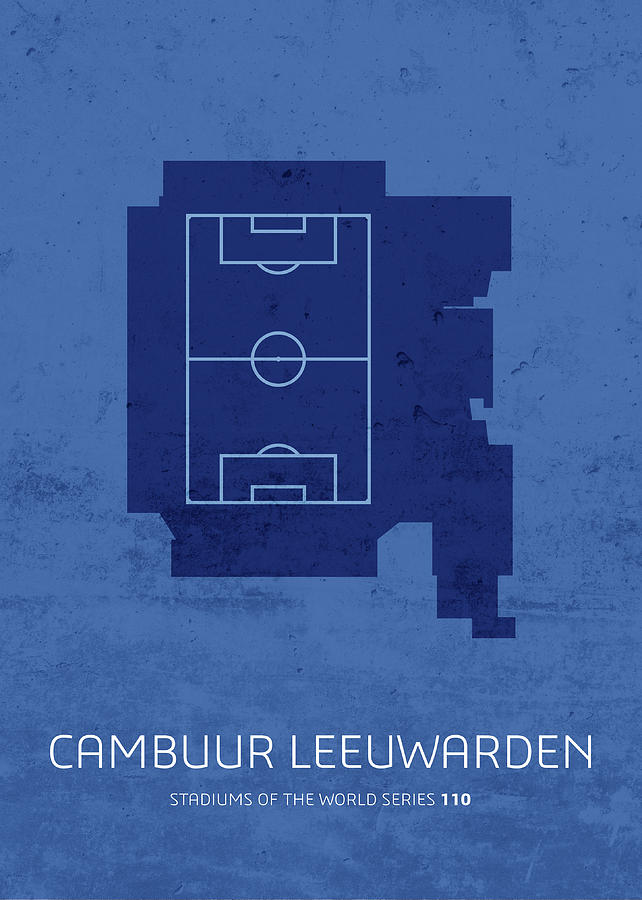 Leeuwarden Mixed Media - Cambuur Leeuwarden Stadium Football Soccer Minimalist Series by Design Turnpike