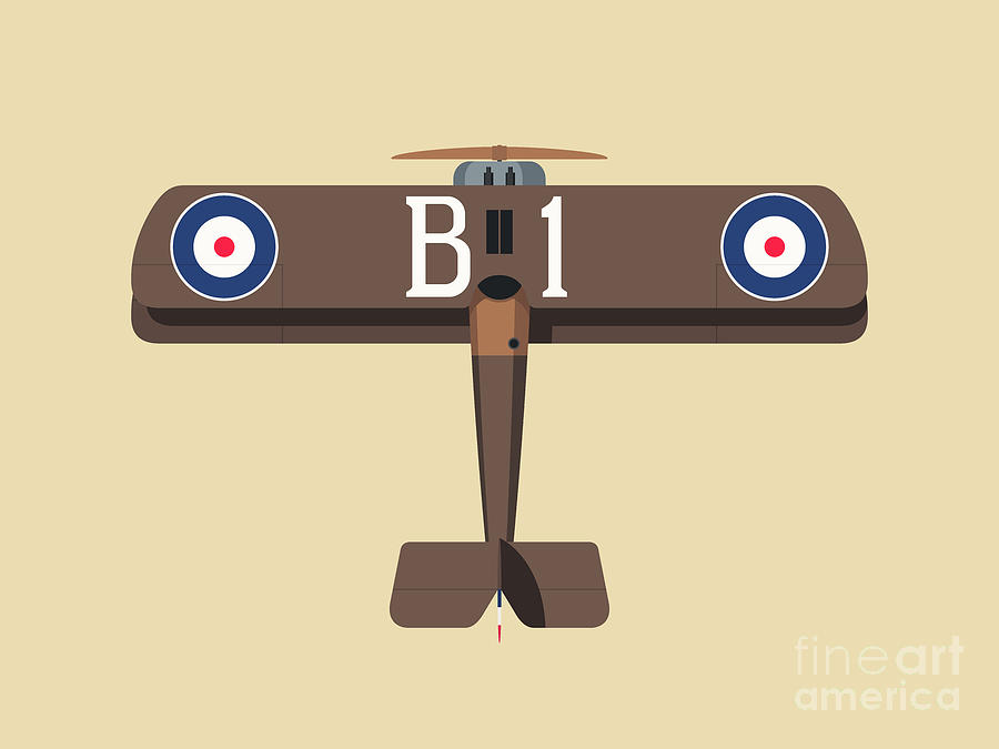 Aircraft Digital Art - Camel WWI Biplane Aircraft - Brown Landscape by Organic Synthesis