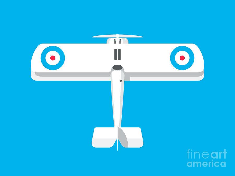 Aircraft Digital Art - Camel WWI Biplane Aircraft - Landscape Cyan by Organic Synthesis