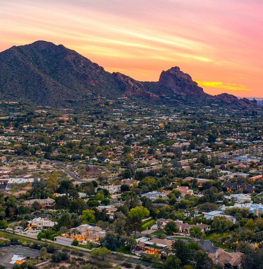 Camelback Mountain Sunset Paradise Valley Arizona Photograph by Anthony  Giammarino