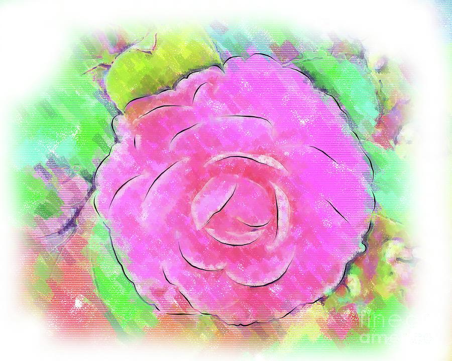 Floral Digital Art - Camellia Pastel PInk Bloom by Kirt Tisdale