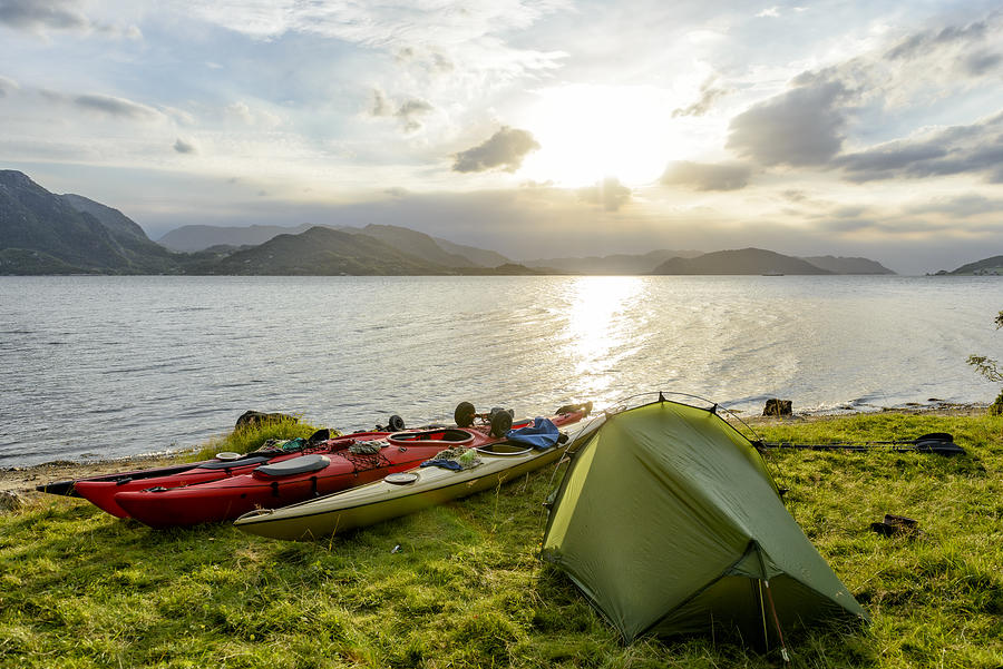 Camping and Kayaking in a Fjord in Norway during summer Photograph by Sjo