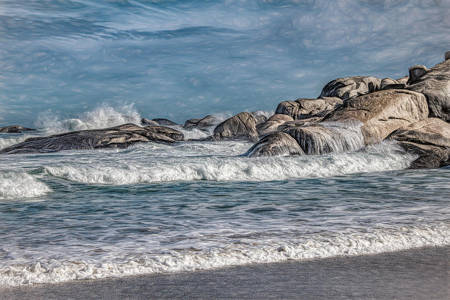 Camps Bay Shore, Painterly by Marcy Wielfaert