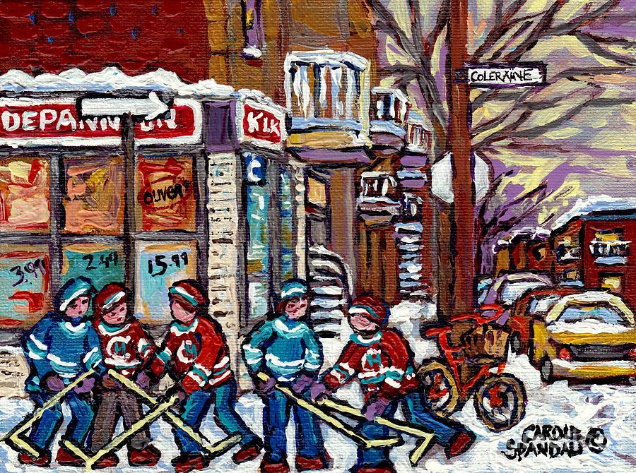 Verdun Painting - Canadian Art Montreal Street Scene Coleraine Depanneur Hockey Quebec Artiste Peintre Carole Spandau by Carole Spandau