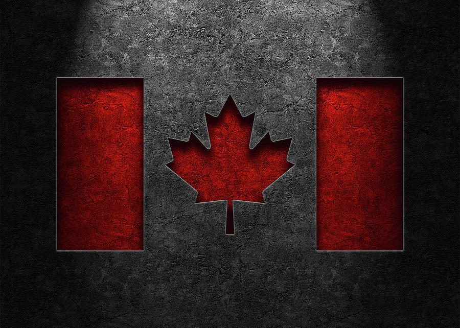 Canadian Flag Stone Texture Repost Photograph