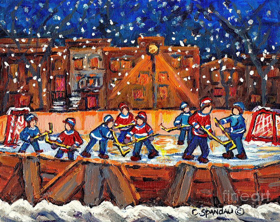 CANADIAN WINTER NIGHT SKY OUTDOOR RINK HOCKEY PAINTING SNOWY MONTREAL STREET C SPANDAU QUEBEC ARTIST by CAROLE SPANDAU