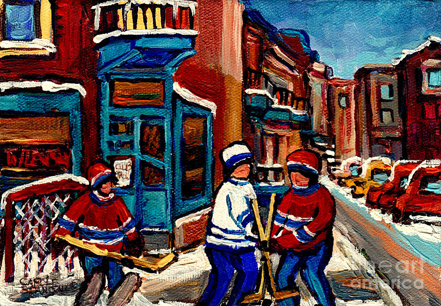 Montreal Painting - Canadian Winter Street Scene Wilenskys Diner And Hockey Art Quebec Artiste Peintre Carole Spandau by Carole Spandau