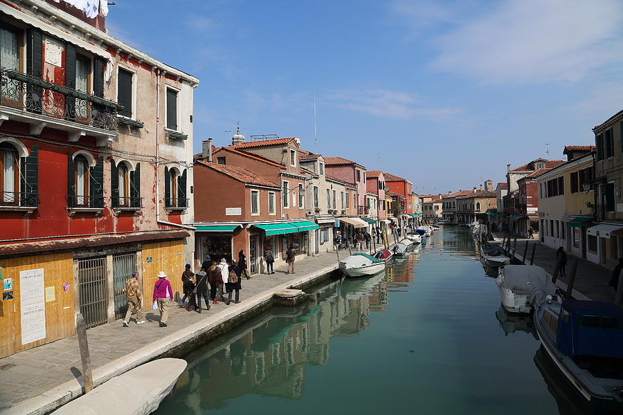 Canal, people and shops in Murano Photograph by Pejft