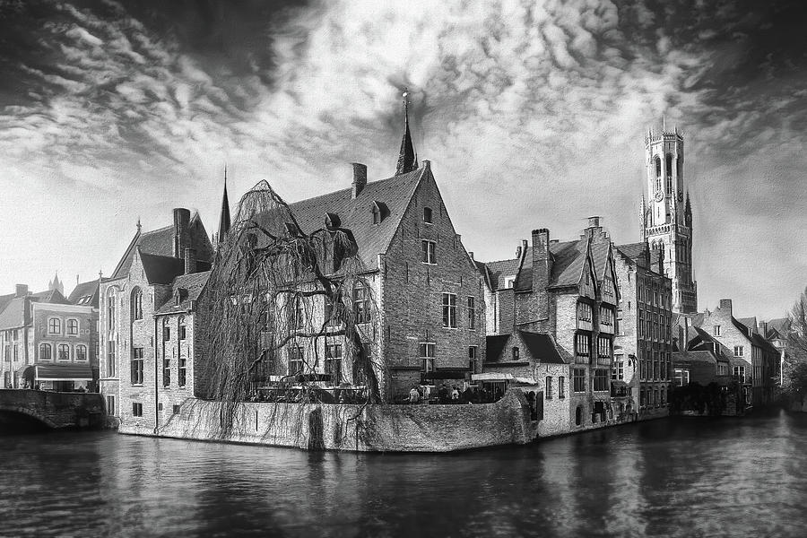 Canal Scenes Of Bruges Belgium Black And White Photograph
