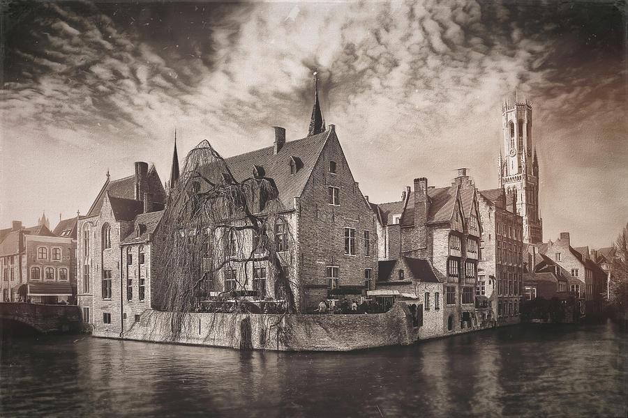Canal Scenes Of Bruges Belgium Vintage Photograph