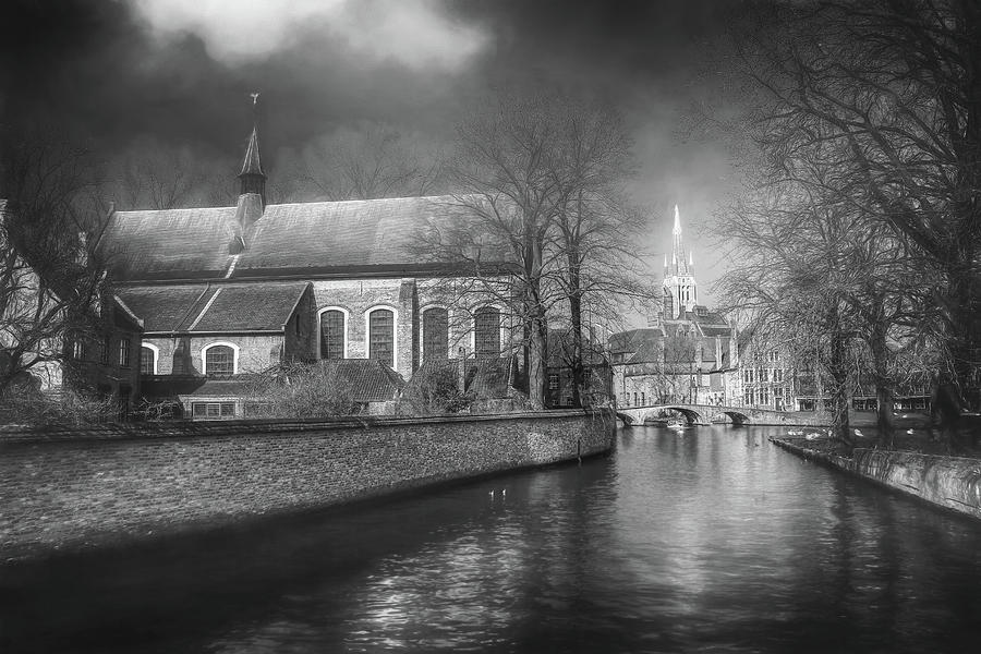 Canals Of Bruges Belgium Black And White Photograph