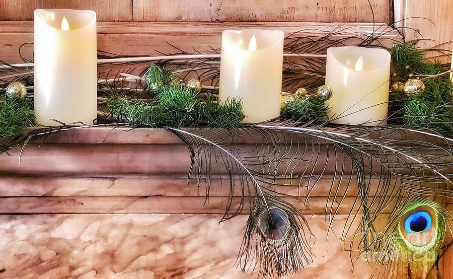 Candles and Peacock Feathers by Mary Capriole