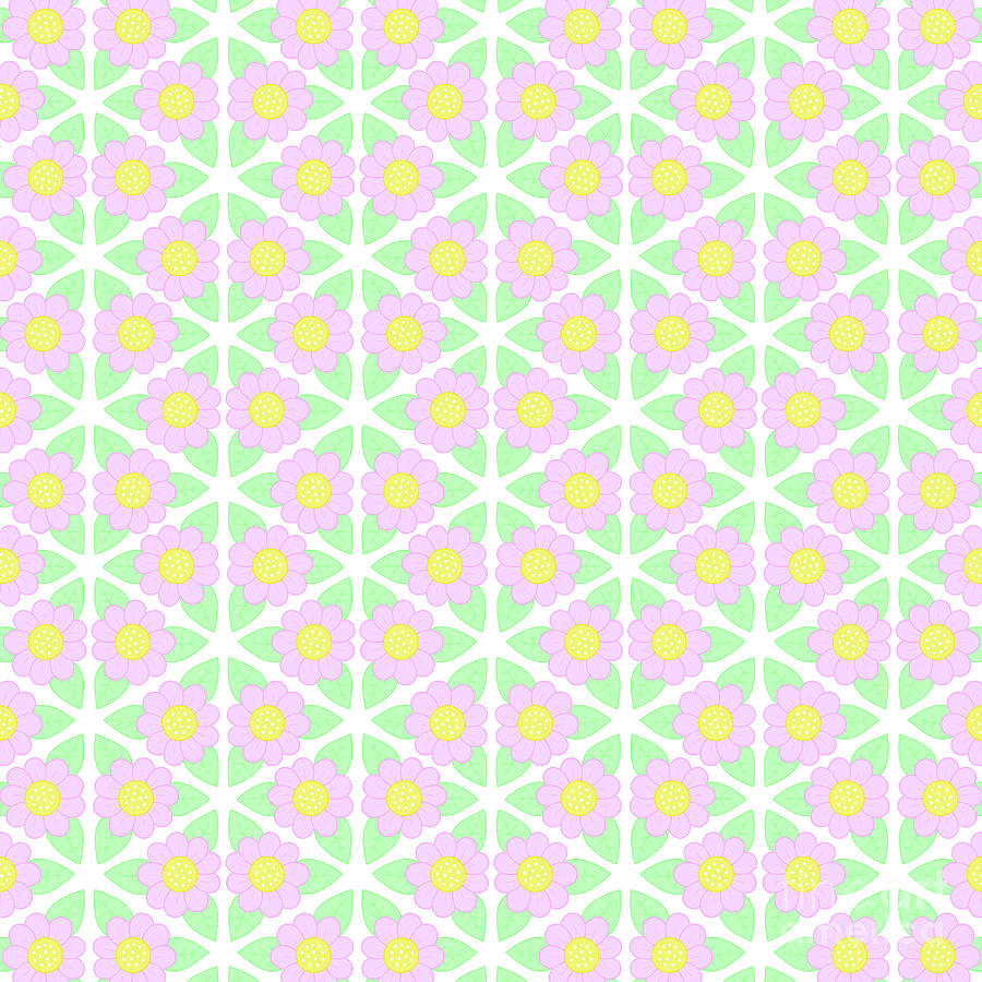 Flower Pattern Digital Art - Candy Flower - Pink, Yellow and Green Floral Pattern by LJ Knight