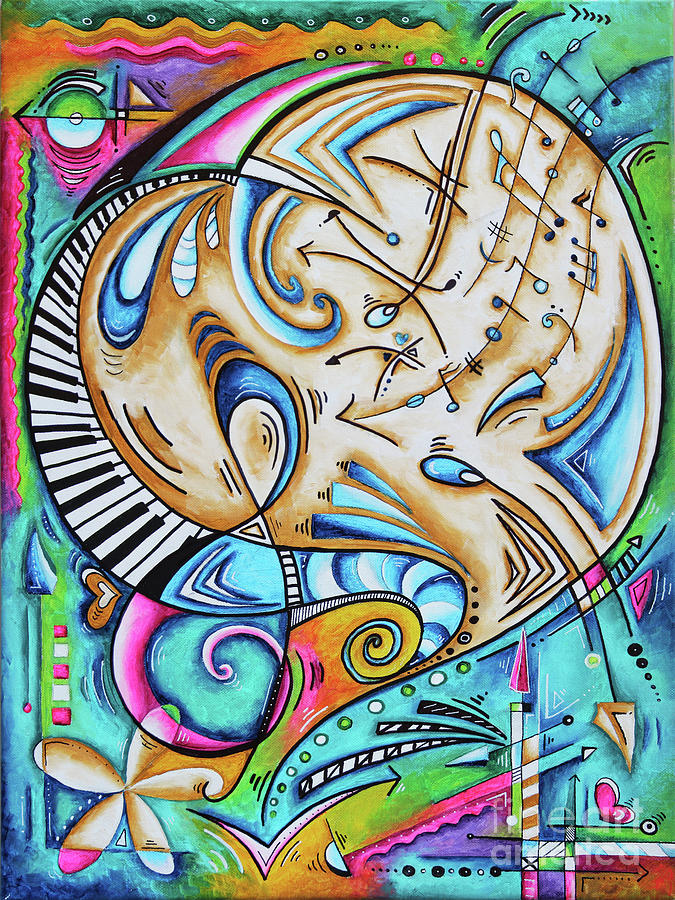 Candyland is a Fun Whimsical Musical Heart Painting from the PoP of Love Collection MADART by Megan Duncanson