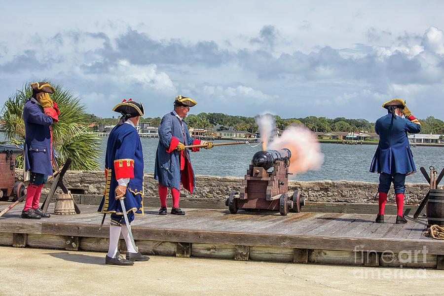 Castillo De San Marcos Photograph - Cannon Firing Demonstration, Castillo de San Marcos , St Augustine, Florida by Felix Lai