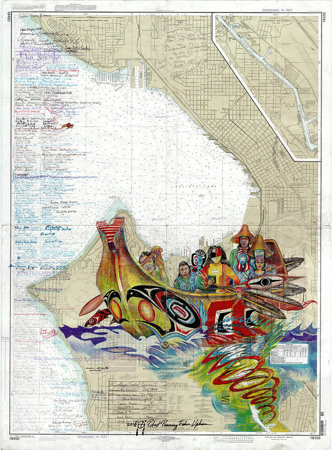 Puyallup Drawing - Canoe Journey Seattle by Running Fisher