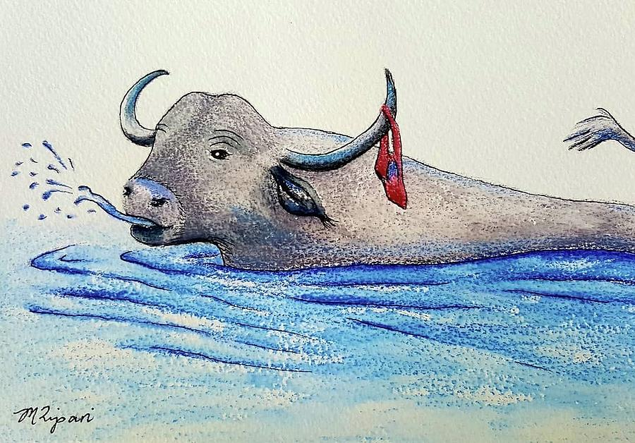 Buffalo Drawing - Cant Get My Budgie Smugglers Wet by Michelle Ripari