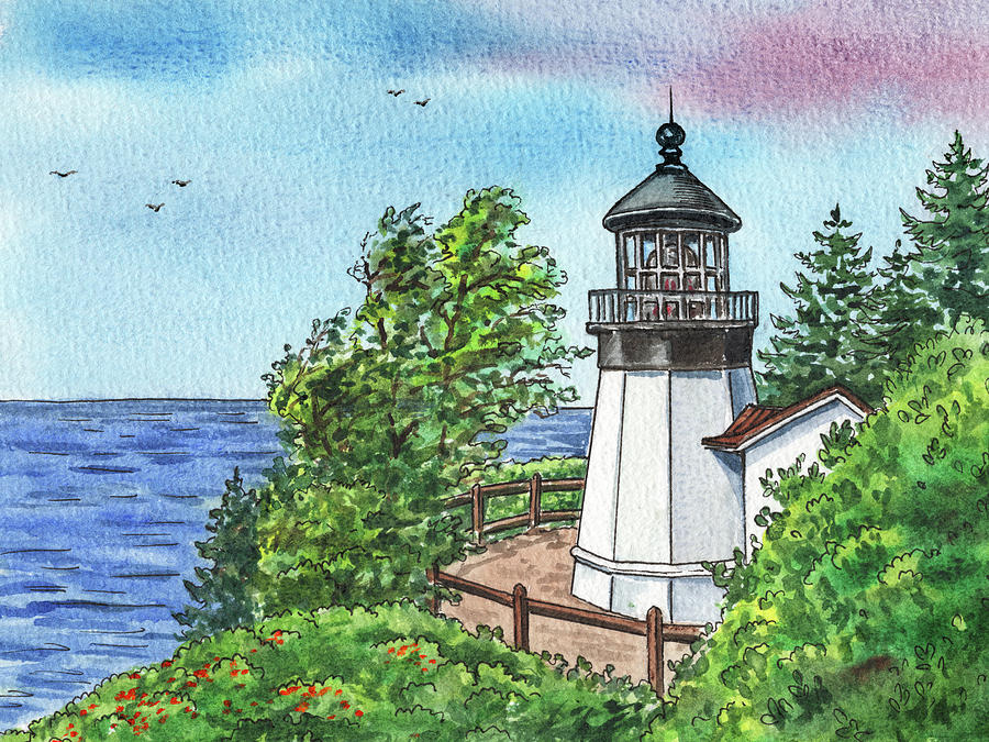 Cape Meares Lighthouse Oregon State Pacific Ocean Shore Watercolor Painting