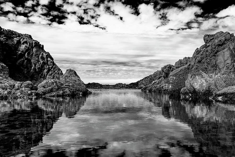 Cape Perpetua Tide Pool Black And White Photograph