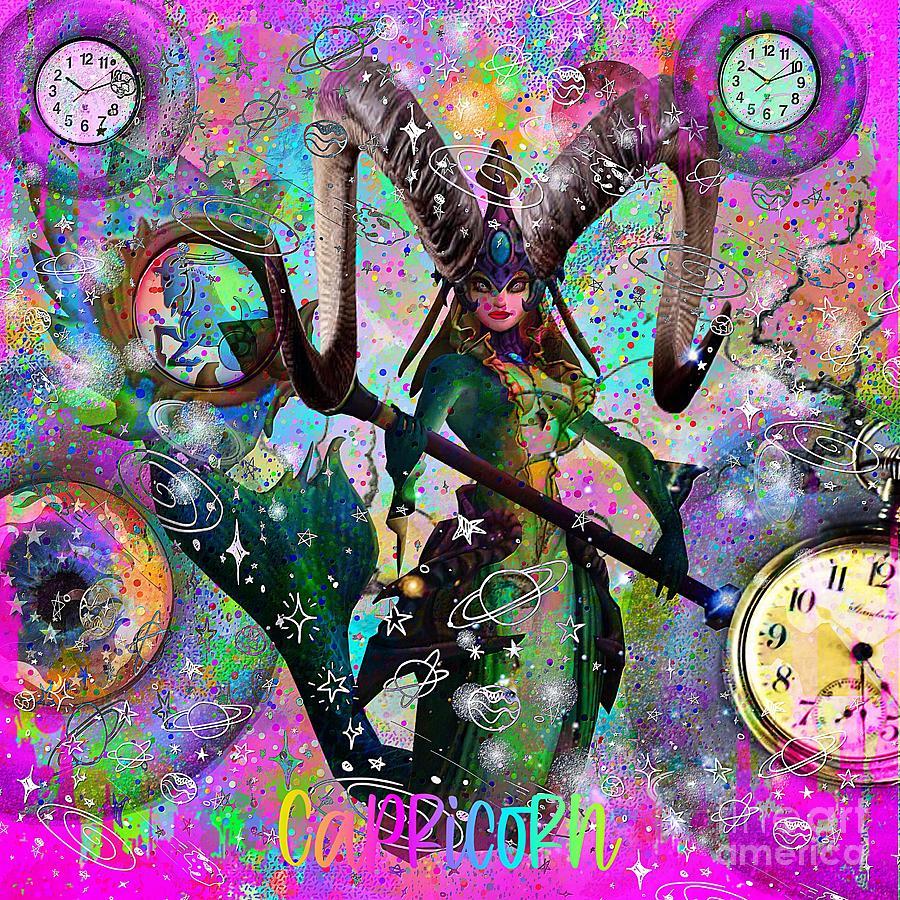 Capricorn Zodiac Art Mixed Media