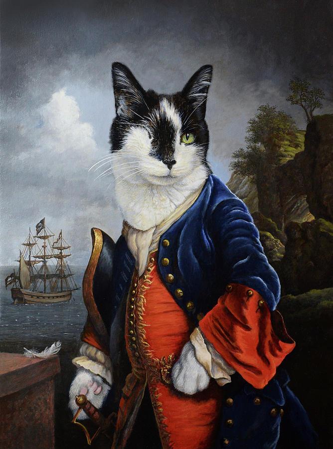 Cat Painting - Captain Cat by Philip Malpass