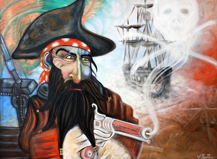 Pirate Skull Painting - Captains Curse by Laura Barbosa