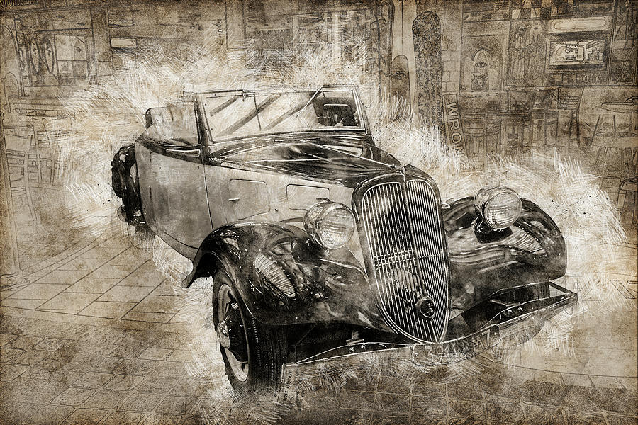 Car on the Plaza by Max Huber
