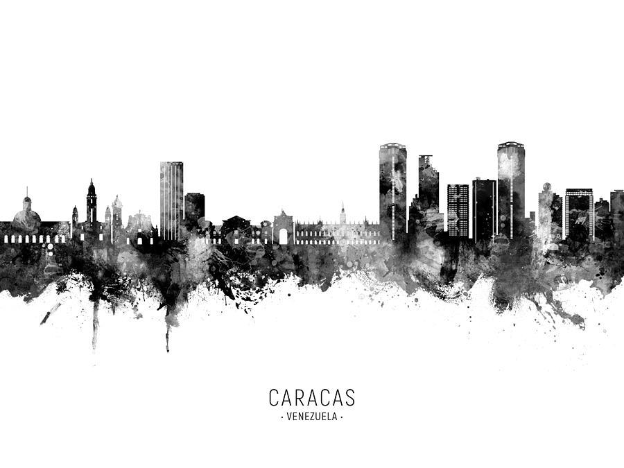 Caracas Digital Art - Caracas Venezuela Skyline #59 by Michael Tompsett