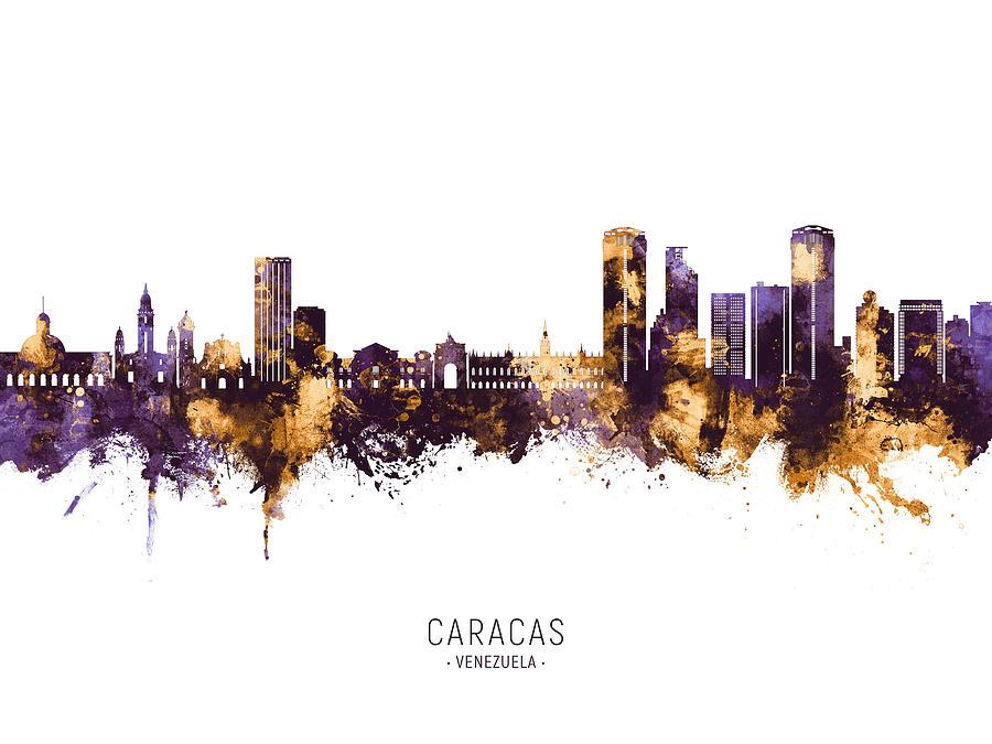 Caracas Digital Art - Caracas Venezuela Skyline #60 by Michael Tompsett