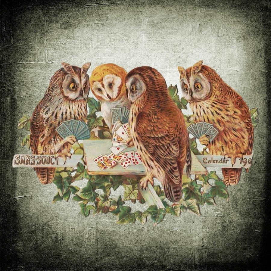 Card Sharks Vintage Owls by Joy of Life Arts Gallery