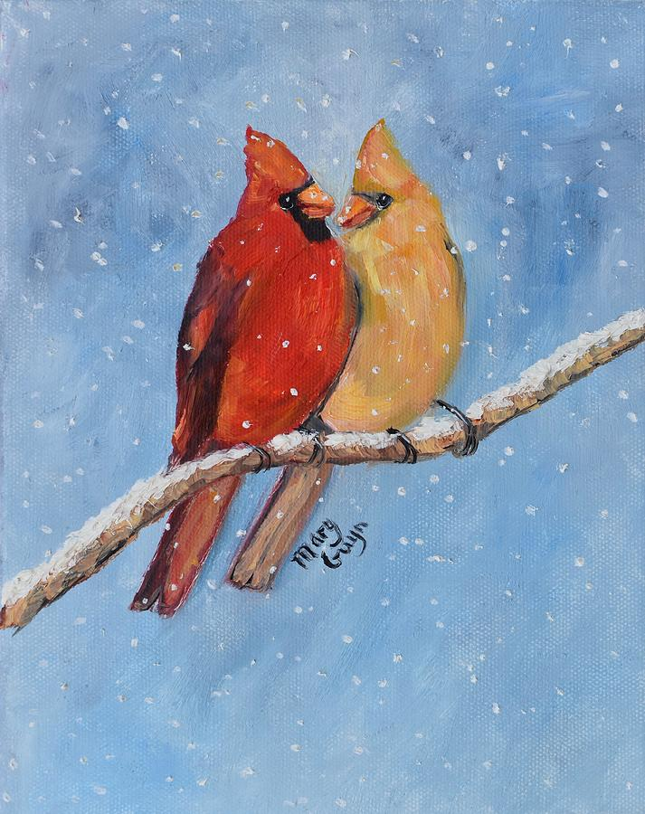 Cardinals Painting - Cardinal Pair in Snow  by Mary Gwyn Bowen