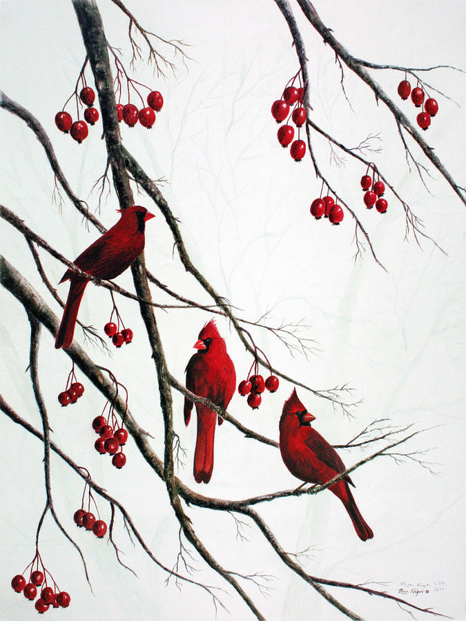 Cardinals And Crabapples Painting by Ben Kiger