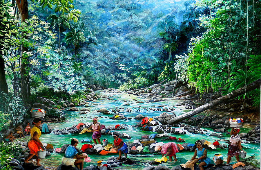 Caribbean Wash Day Painting by Karin  Dawn Kelshall- Best