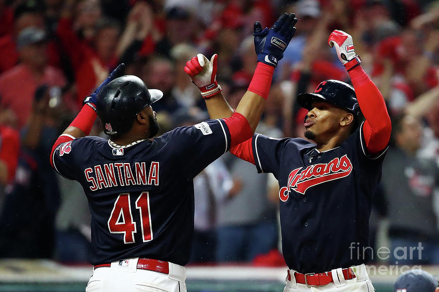 Carlos Santana and Francisco Lindor Photograph by Gregory Shamus