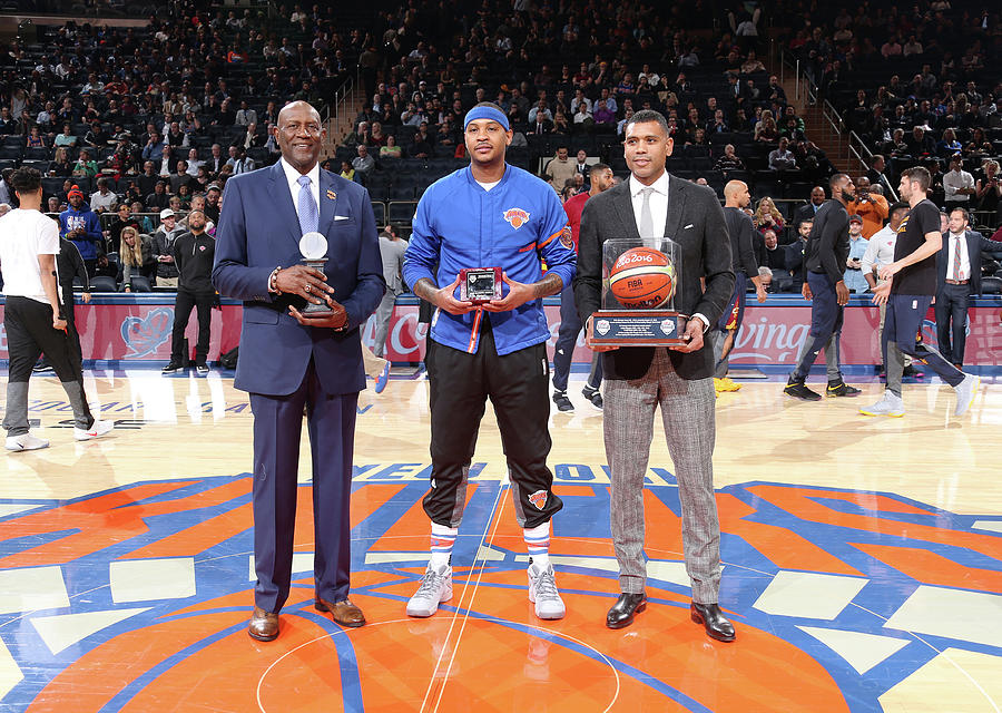 Carmelo Anthony, Spencer Haywood, and Allan Houston Photograph by Nathaniel S. Butler