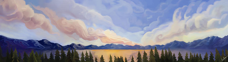 Clouds Painting - Carnelian Bay Sunset Panorama by Craig Newman