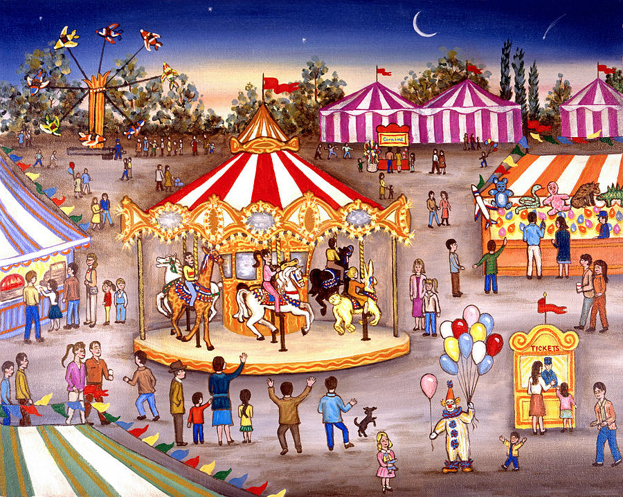 Carousel At The Carnival Painting