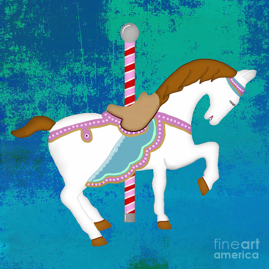 Carousel Horse Blue Green Digital Art
