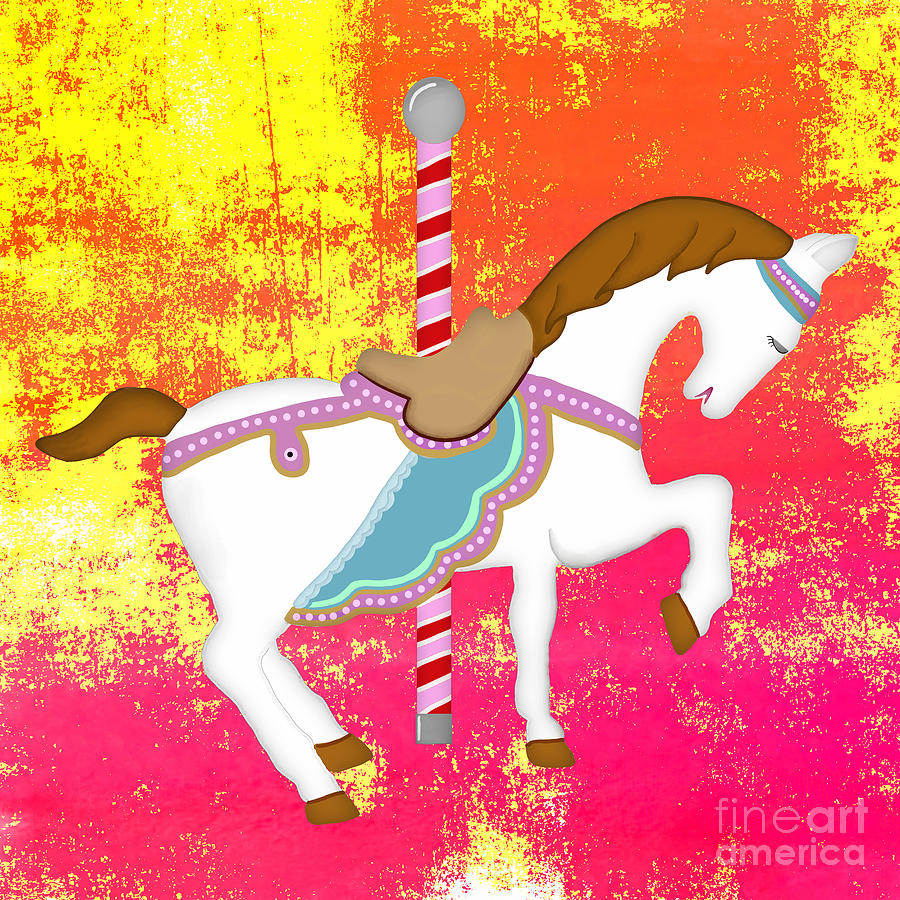 Carousel Horse Pink Yellow Digital Art