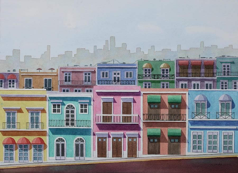 Caribbean Painting - Carribean Neighborhood by Cory Clifford